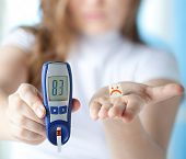 stock photo of blood test  - Female Diabetic Doing a Glucose Level Finger Blood Test at Home  - JPG