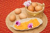 stock photo of yoke  - Golden threads thai dessert thai sweets made form egg yoke cooked in syrup - JPG
