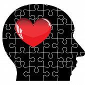 image of jigsaw  - Jigsaw puzzle of human head with red heart - JPG