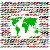 stock photo of north sudan  - Flags of the world and  map on white background - JPG