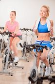 picture of exercise bike  - Cycling on exercise bikes - JPG