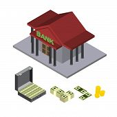 pic of billion  - bank building isometric icons for web money vector - JPG