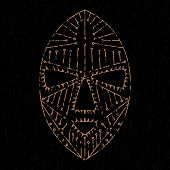stock photo of african mask  - African mask grunge clothes - JPG