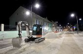 picture of reconstruction  - Bulldozer at construction site reconstruction of street roadwork Zrenjanin Serbia night photo - JPG