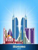 picture of bahrain  - Colorful City of Manama Bahrain Famous Buildings - JPG