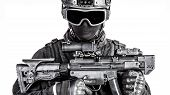picture of officer  - Spec ops police officer SWAT in black uniform and face mask  - JPG