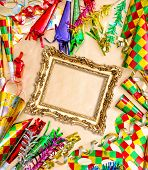 image of venetian carnival  - Venetian carnival party decorations and baroque golden picture frame - JPG