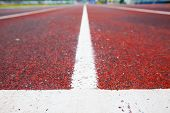 image of track field  - Running track (Running track rubber with line )