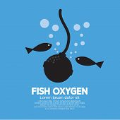 stock photo of oxygen  - Fish Oxygen Black Symbol Vector Illustration - JPG