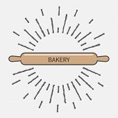picture of food preparation tools equipment  - Wooden rolling pin plunger bakery tool shinging effect Flat design Vector illustration - JPG