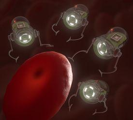 image of hemoglobin  - Nanobots surrounding a hemoglobin infected by virus - JPG