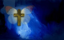 image of calvary  - Abstract digital graphic composed of butterfly and symbolic Christian cross against painted - JPG