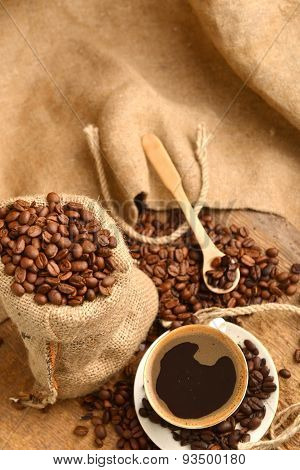 Coffee Beans And Cupcoffee Beans And Cup