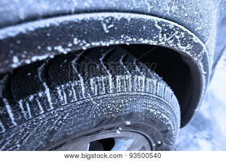 Wheel Covered With Hoarfrost Concept Of Winter Weather