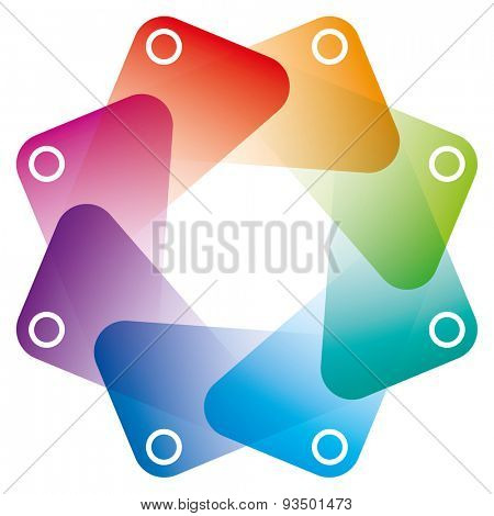Colorful Octagon Symbol with transparent effect. Vector EPS10 with copy space.