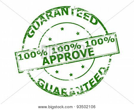 Rubber stamp with text one hunder percent approve inside vector illustration