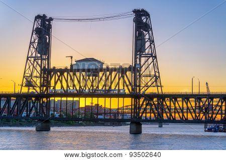 Steel Bridge At Sunset