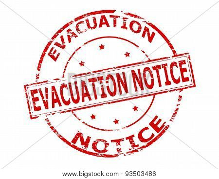 Rubber stamp with text evacuation notice inside vector illustration