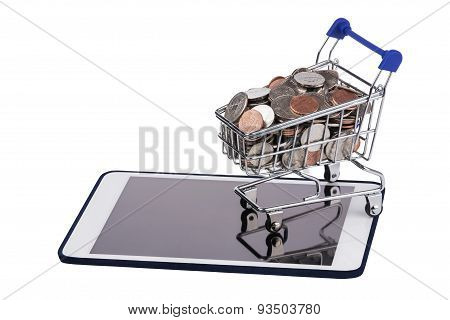 Shopping Basket Full Of Us Coins On A Tablet Pc