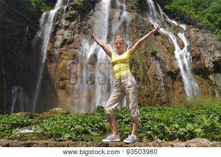 Woman Near  Waterfalls