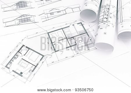 Blueprints With Rolled House Plans