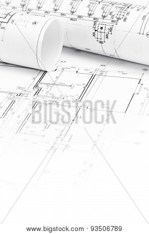 Architect Workspace With Blueprints And House Plans