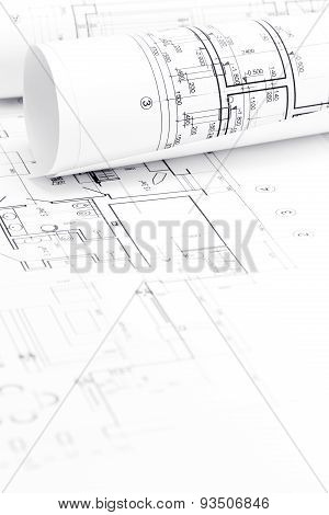 Architectural Background With Blueprint And Rolls