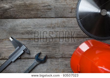 Industrial Tool On A Wooden Table