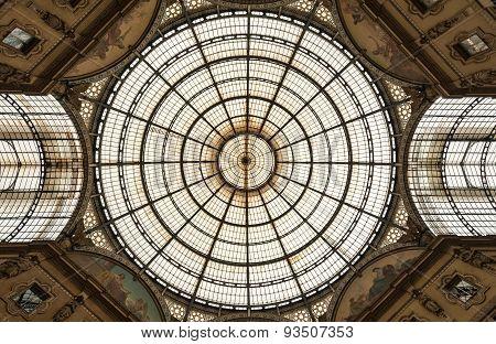 Glass dome of Galleria Vittorio Emanuele II in Milan