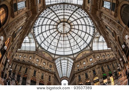 Milan, Italy - April 11, 2013 : Glass Dome Of Galleria Vittorio Emanuele Ii On In Milan. It's One Of