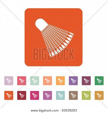 The Badminton Icon. Shuttlecock Symbol. Flat