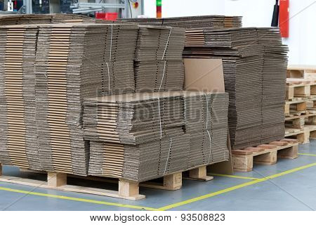 Large Number Of Folded Cardboard Boxes
