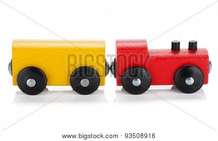 Wooden toy train. Isolated on white background