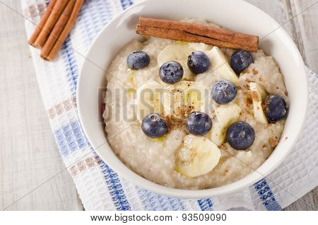 Oatmeal With Fresh Blueberries For  A Breakfast.