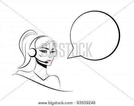 Operator Girl Lineart