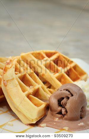 Belgium Waffles With Ice Cream At Cake Shop.