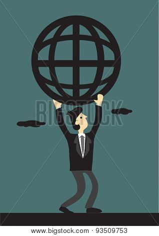 Businessman And Global Network Vector Illustration