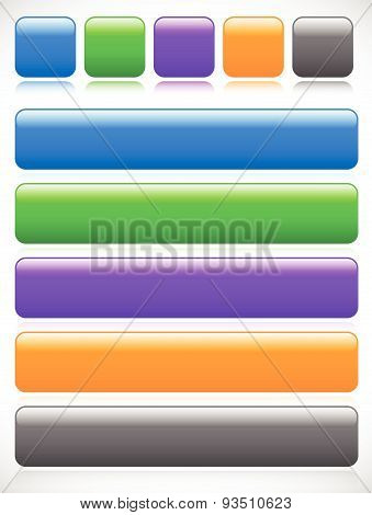 Set Of Button, Banner Backgrounds W/ Empty Space For Print Or Web Design. Square And Rectangle Versi