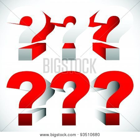 3D Red Question Mark Graphics For Related Concepts. Problem Solving, Questions, Riddle, Quiz, Lookin
