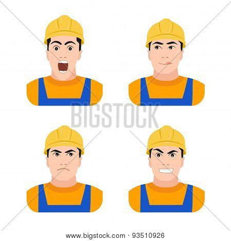 Builder worker at construction different emotions   flat vector illustration