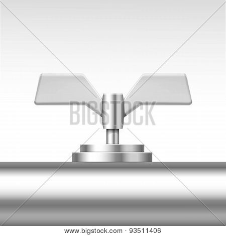 Vector Pipe Valve Isolated on White