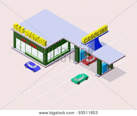 Isometric gas station with cars gasoline pump nozzles market cafe and markings on the road.