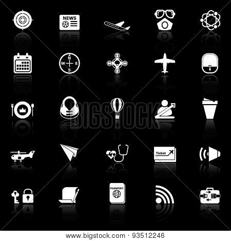 Air Transport Related Icons With Reflect On Black Background