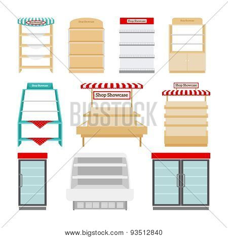 Store shelves or shop showcases