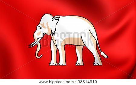 Flag Of The Thailand (1855). The White Elephant Flag.