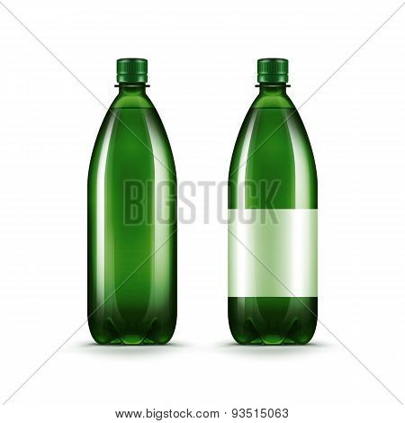 Vector Blank Green Plastic Water Bottle Isolated