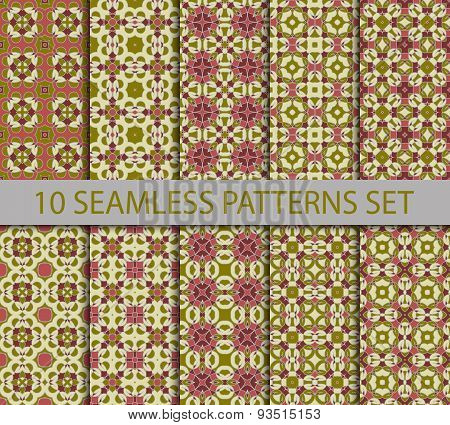 Set of vintage geometric seamless patterns.