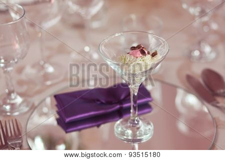 A Glass With Aperitif On Wedding Table