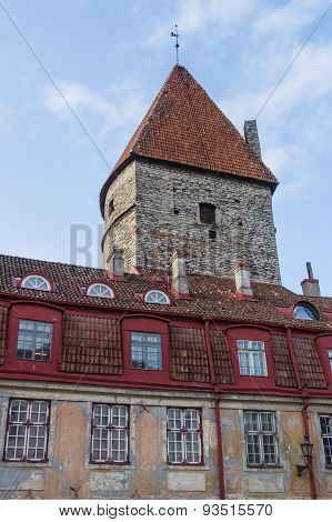 Loewenschede Tower And Medieval Tiled Roof House, Tallinn, Estonia