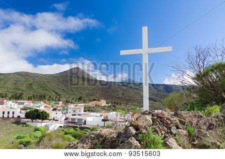 Summer Mountain View With White Wooden Cross